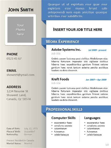 best file format video powerpoint clean resume cv template for powerpoint