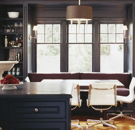 black built  banquette contemporary dining room mcgill design group