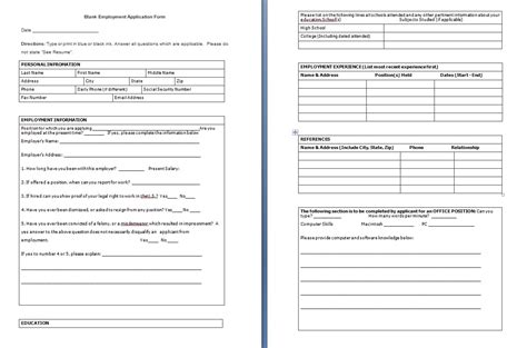 application excel template blank employment application form free formats excel word