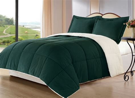 hunter green comforter borrego h green queen size bed 3pc sherpa berber down