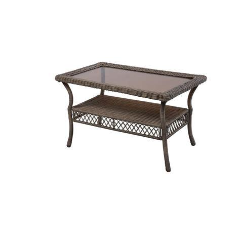 grey wicker outdoor table hton bay grey wicker outdoor patio coffee