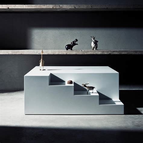 modern coffee table in functional staircase structure