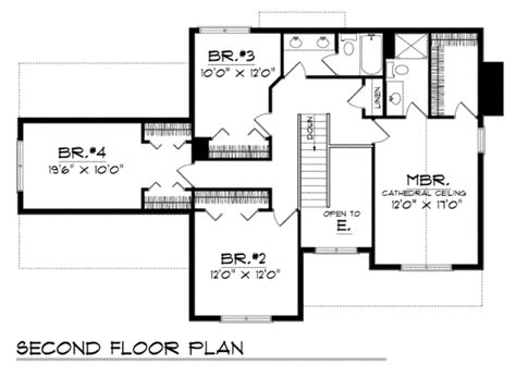 upper floor plan traditional style house plan 4 beds 2 5 baths 2120 sq ft