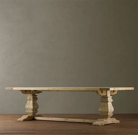 restoration hardware table l salvaged wood trestle rectangular dining table