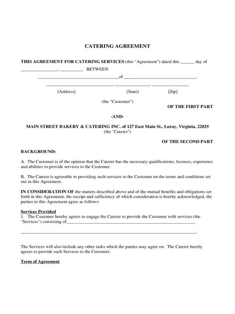 8 catering agreement form theatre resume