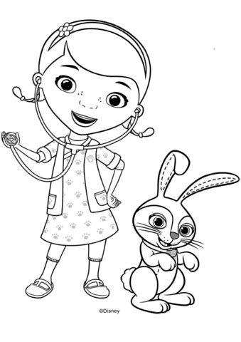 doc mcstuffins with carrots bunny coloring page coloring