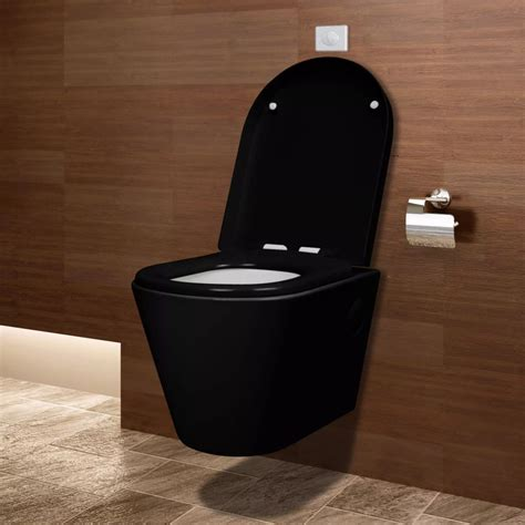 black toilet vidaxl co uk wall hung ceramic toilet wc bathroom black