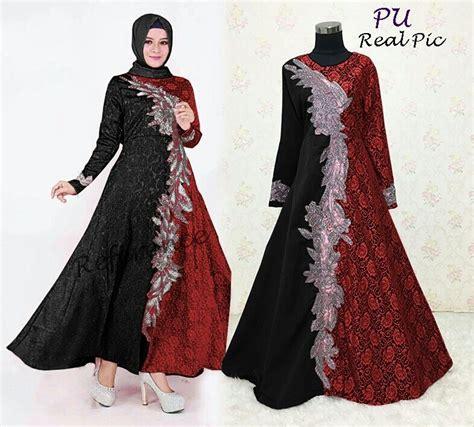 Gamis Pesta Warna Merah Marun baju gamis pesta priska brokat model busana muslim