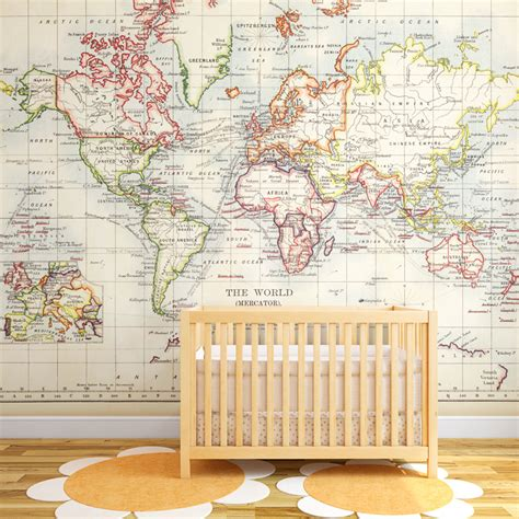 vintage map wallpaper mural for room