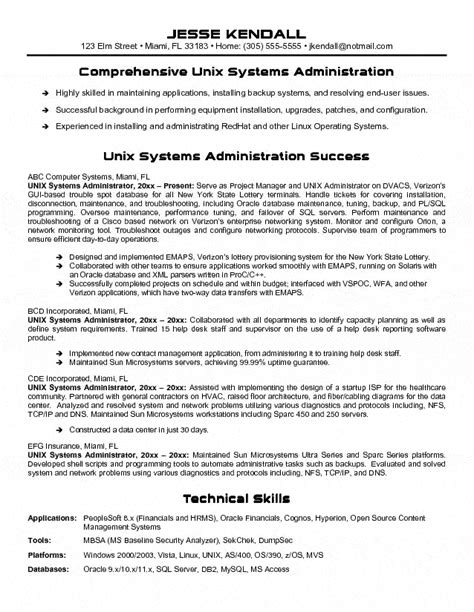 Basic Unix Resume Sle Unix Manager Resume Systems Administrator 100 Images Sle Essay Five Paragraph Help With Best
