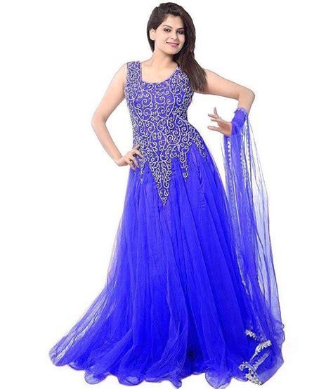 dress design rs h n k blue net anarkali gown semi stitched dress material