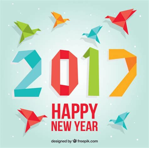 New Year Origami - colored origami new year background vector free