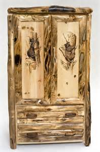 Log furniture rustic armoire hand carved doors unique
