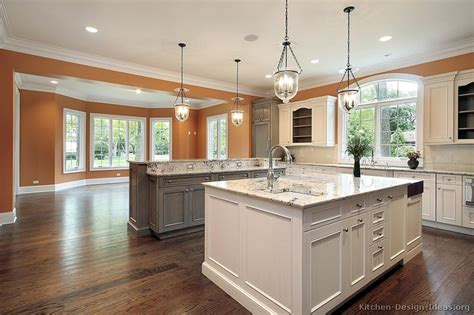 kitchens with 2 islands pictures of kitchens traditional two tone kitchen