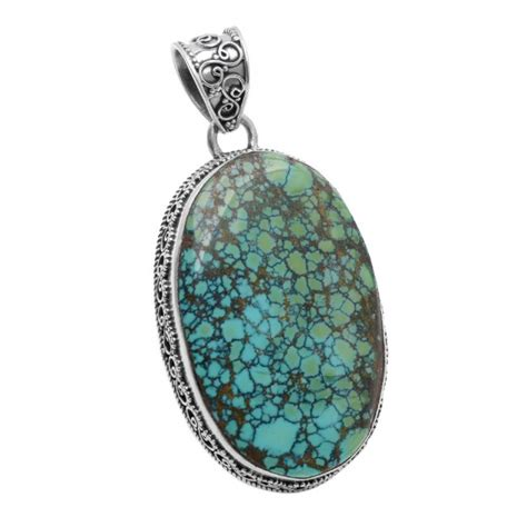 genuine turquoise sterling silver pendant large
