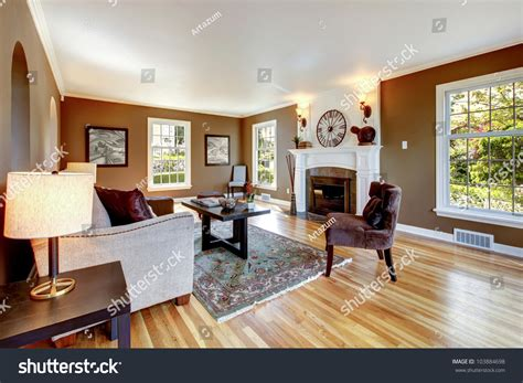 brown and white living room classic brown white living room interior stock photo