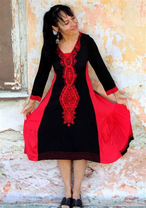 113 Bohemian Dress m embroidered india design dress hippie boho style