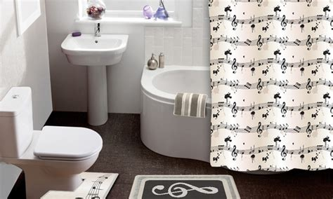 bathroom music sheet music 15 piece shower curtain and bath rug set groupon