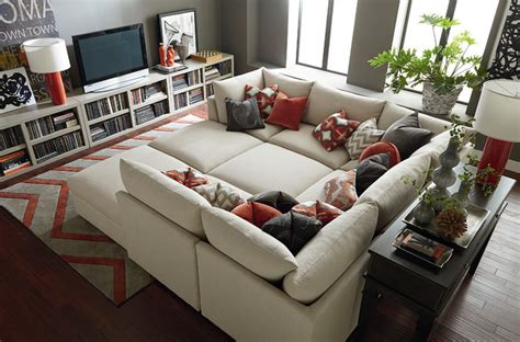 movie room couch bed beckham pit sectional by bassett furniture contemporary