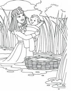 Pharaohs Daughter With Baby Moses Exodus 2 sketch template