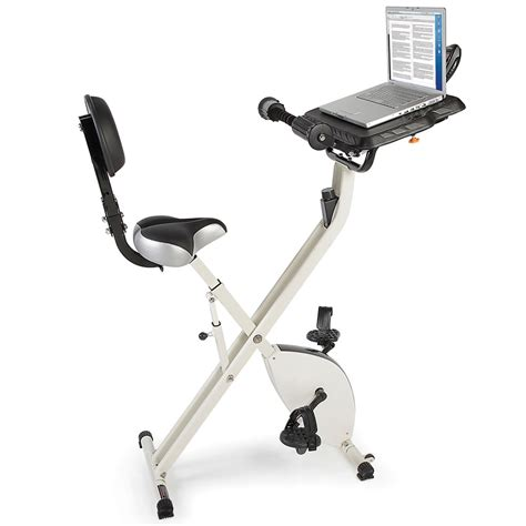 The Foldaway Exercise Bicycle Desk Hammacher Schlemmer Exercise Bike Computer Desk