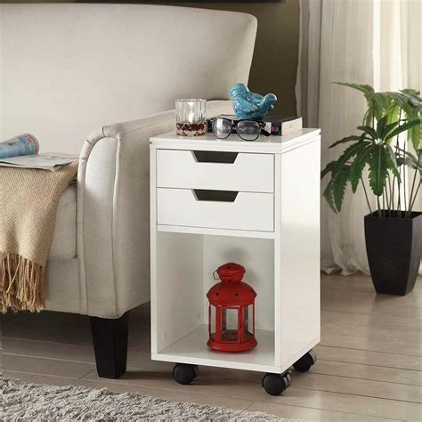 storage side table with drawer on wheels home decorators collection mobile storage cart 2 drawer