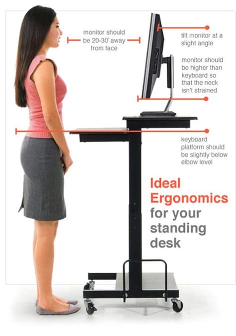 correct height for standing desk the gallery for gt ergonomic standing workstation