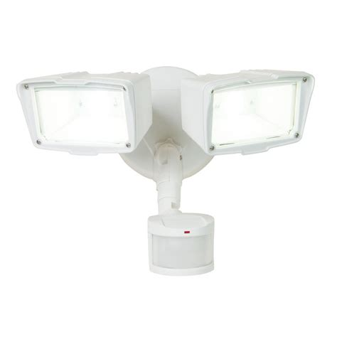 2 head led motion activated flood light utilitech pro 180 degree 2 head led motion activated flood