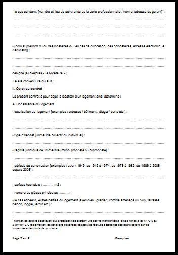 contrat location chambre meubl馥 contrat de bail location maison pdf table de lit a roulettes