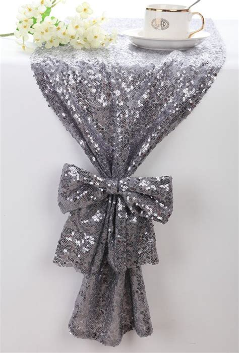 silver glitter table runner sequin table runner silver grey sparkle table runner bling