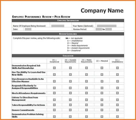 peer review template employees employee peer review template christopherbathum co