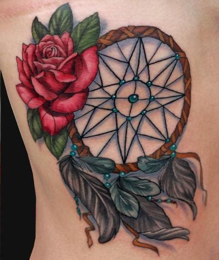 tattoo dreamcatcher roses dreamcatcher and rose tattoo by katelyn crane tattoo