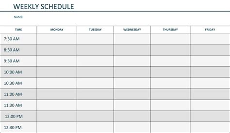schedule templates free printable weekly schedule template excel calendar