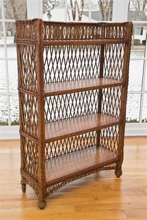 Wicker Book Shelf by Wicker Bookcase At 1stdibs