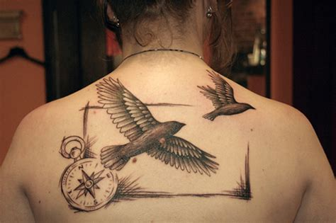 tattoo compass bird flying birds and compass tattoos on upper back
