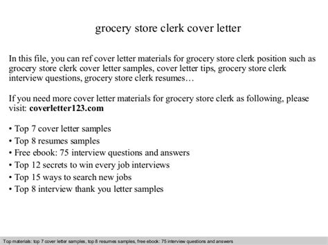 Toolroom Clerk Cover Letter by Grocery Store Clerk Cover Letter