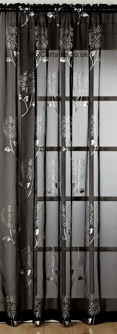 black and silver voile curtains voile panel chrissy voile panel slot top by mirabel in