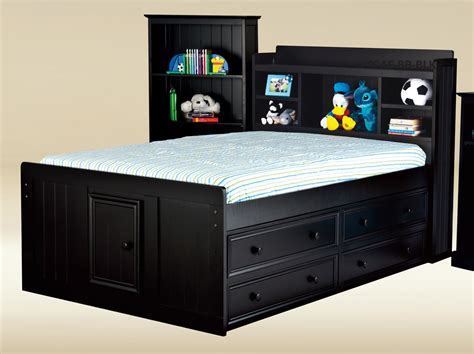 Toledo Black Full Size Captains Bed Bookcase Captains Black Captains Bed