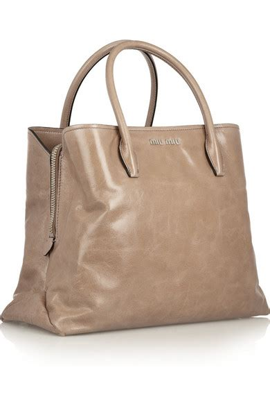 Miu Miu Washed Leather Tote by Miu Miu Leather Tote Net A Porter
