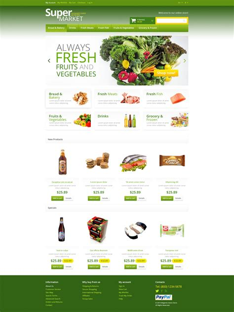 Responsive Supermarket Magento Theme 45713 Stock Market Website Template Free