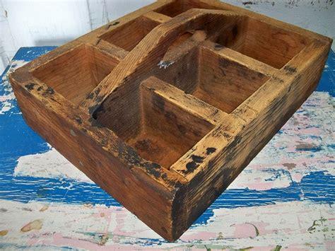 Handmade Tool Box - handmade vintage primitive wood tool box rustic wooden tote