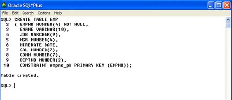 Oracle Create Table Primary Key oracle pl sql sql plus overview