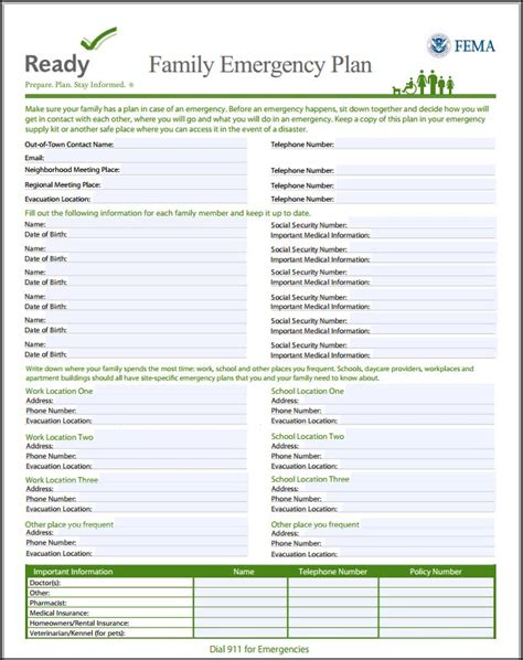 family emergency plan template printable family emergency plan checklists