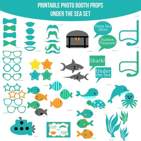 printable photo booth props under the sea instant download under the sea printable photo booth prop