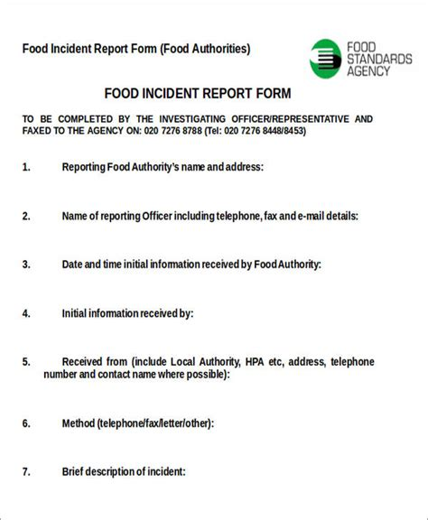 food poisoning incident report template 47 incident report sles