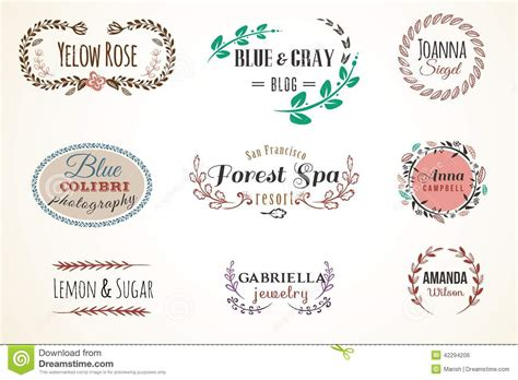 Floral Frame And Name Collection Stock Vector   Image