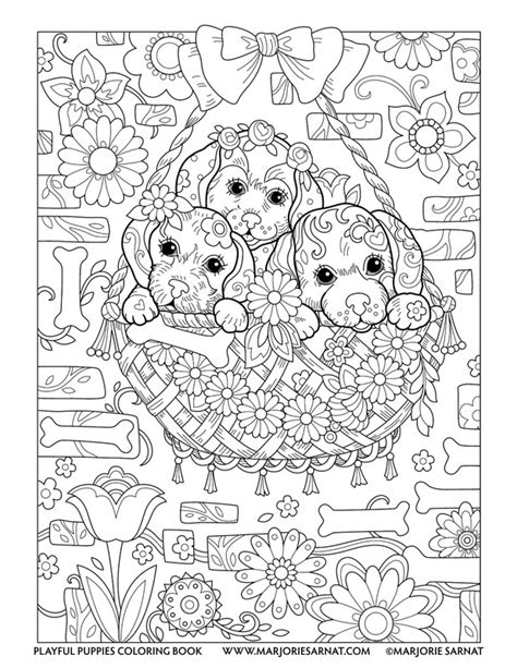 coloring pages for adults dogs playful puppies marjorie sarnat design illustration