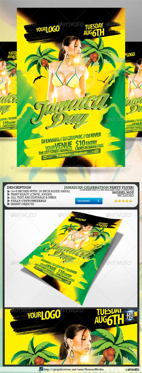 Jamaica Day Party Flyer Graphicriver Jamaican Flyer Templates