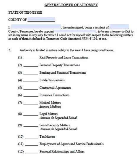 general power of attorney template free general power of attorney tennessee form adobe pdf