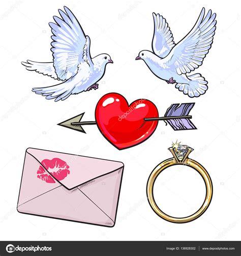 lettere di fidanzamento matrimonio fidanzamento icon set con colombe cuore